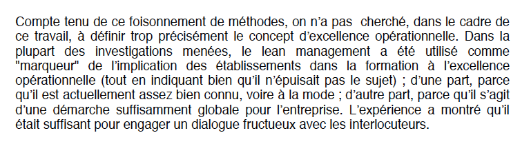 Excellence opérationnelle = Lean