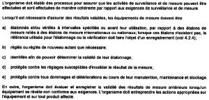 Extrait du § 7.6 de la norme ISO 9001 (2008)